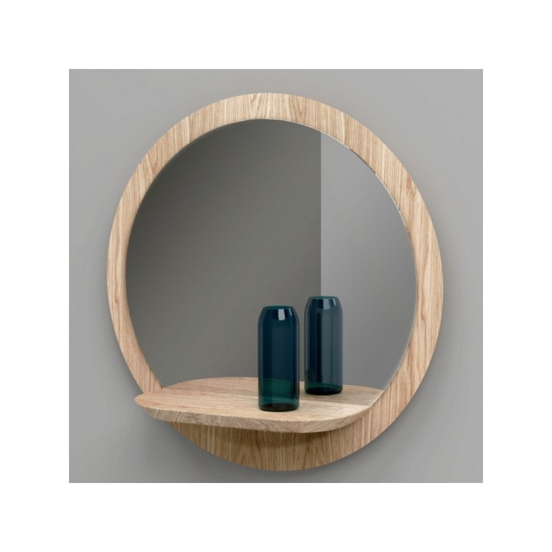 Miroir rond design en bois sunrise large reine m re for Miroir mural grande taille