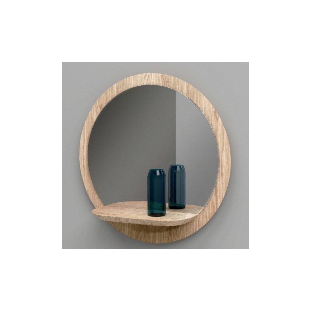 Miroir rond design en bois sunrise large reine m re for Grand miroir rond design