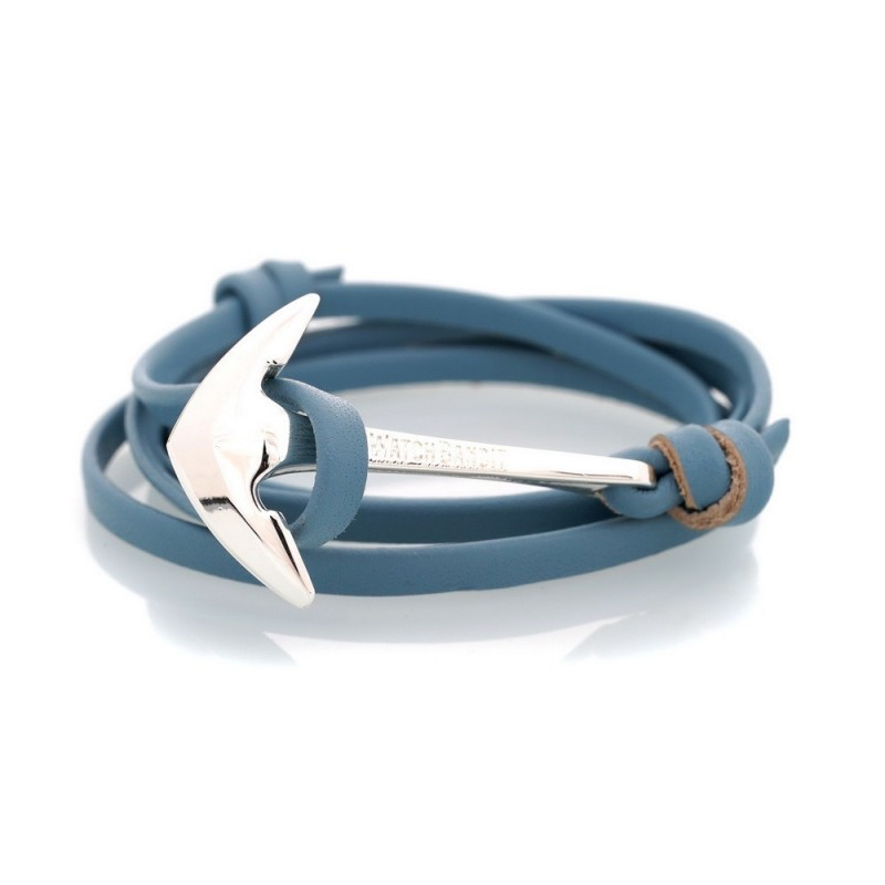 Bracelet Ancre Light Blue Leather Silver Admiral