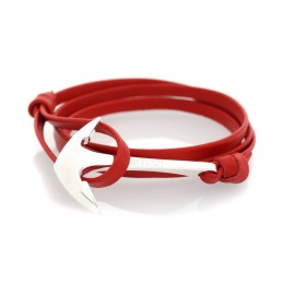 Bracelet Ancre Red Leather Silver Admiral