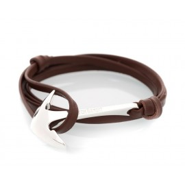 Bracelet Ancre Brown Leather Silver Admiral