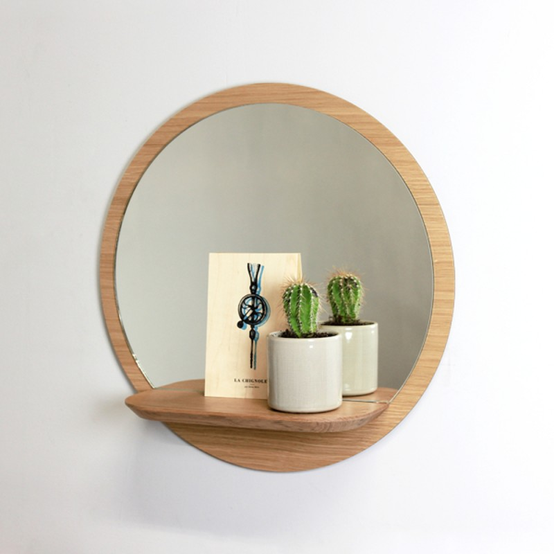 Miroir Rond Design en Bois Sunrise Small