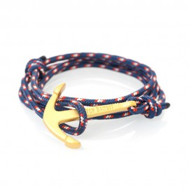 Bracelet Tricolore Ancre Dorée Mate - North Mat Gold