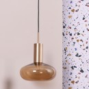 Suspension Bulbe en Verre Bronze et laiton - Gambi