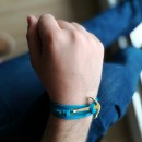 Bracelet Ancre et cuir Turquoise Leather Gold Anchor