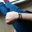 Bracelet Ancre Black Leather Silver Admiral