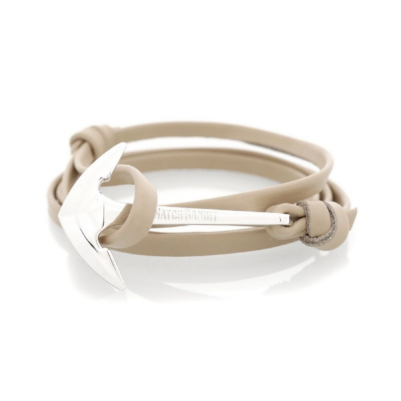 Bracelet Ancre Gris Leather Silver Admiral