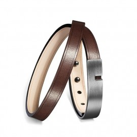 Bracelet Homme U-Turn Twice Cuir Chocolat
