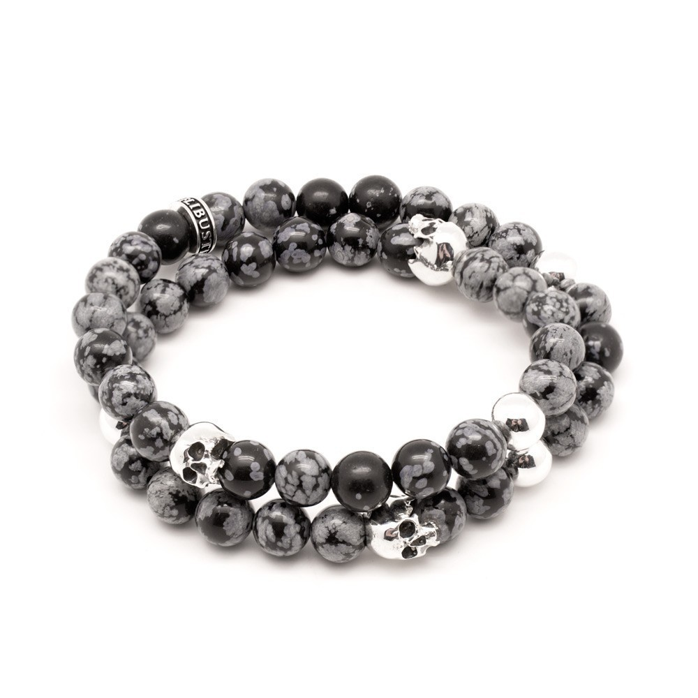 flibustier bracelet homme obsidian skull wrap. Black Bedroom Furniture Sets. Home Design Ideas