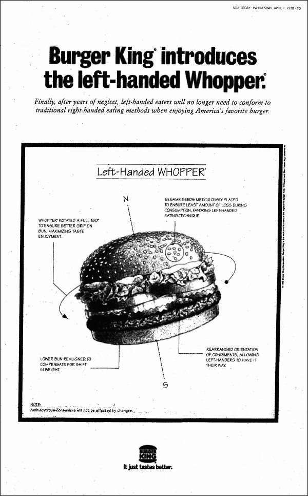 left handed whopper burger king