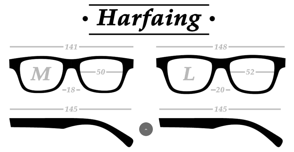Guide des tailles lunettes solaires Harfaing In'Bo